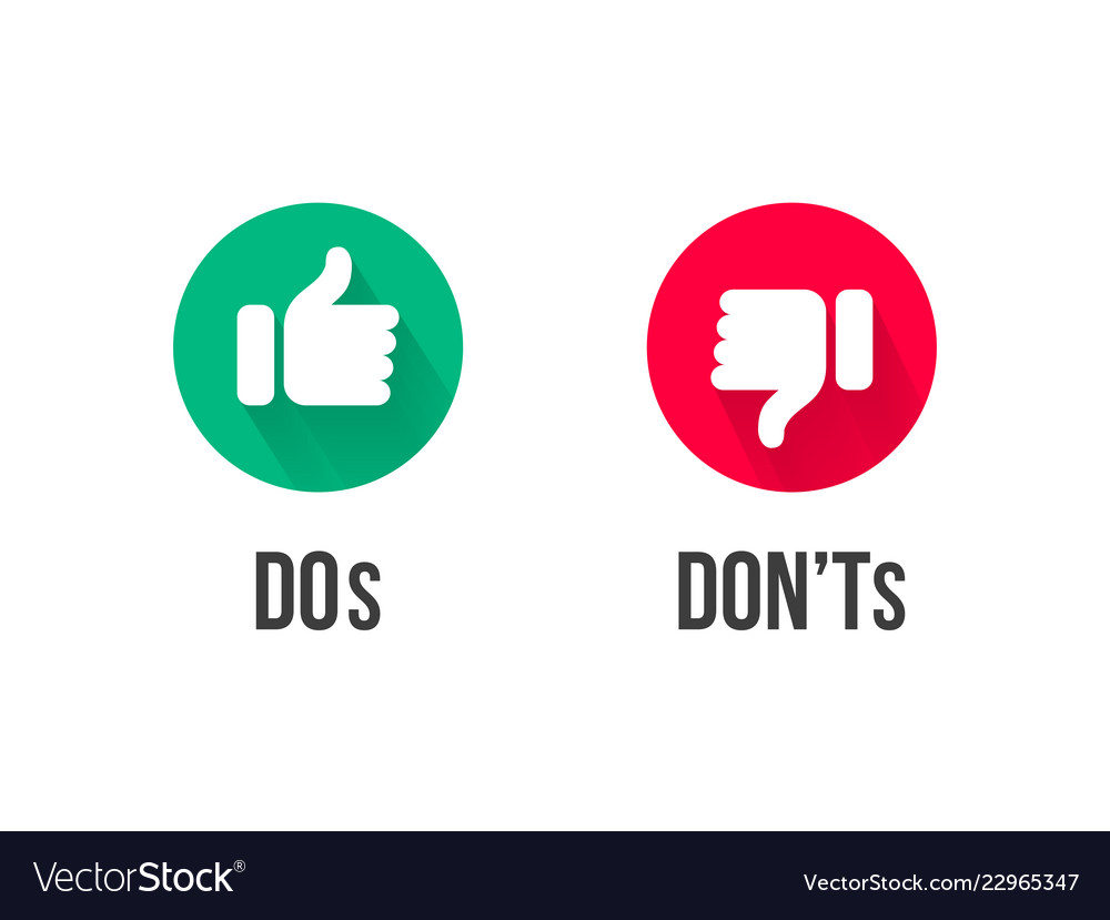 Dos and donts thumb up and down icons