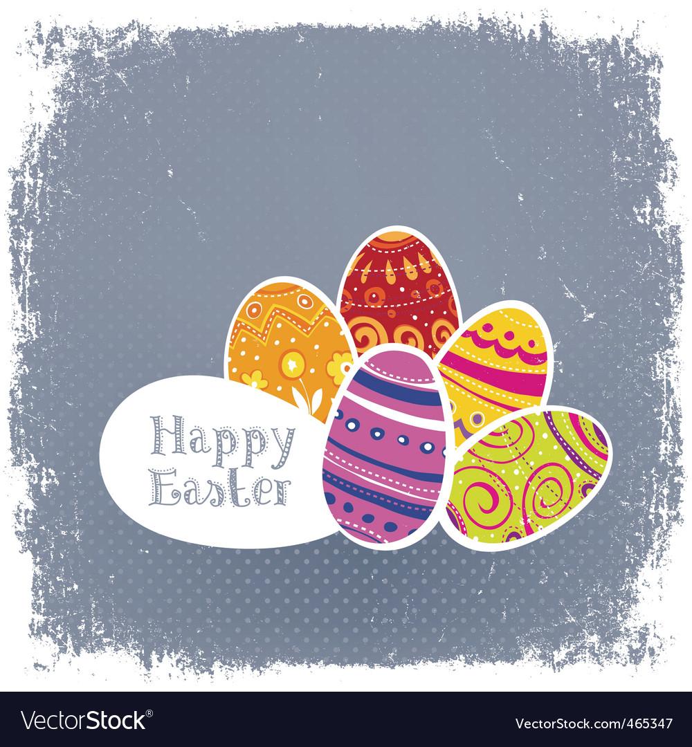 Easter eggs vintage background vector image
