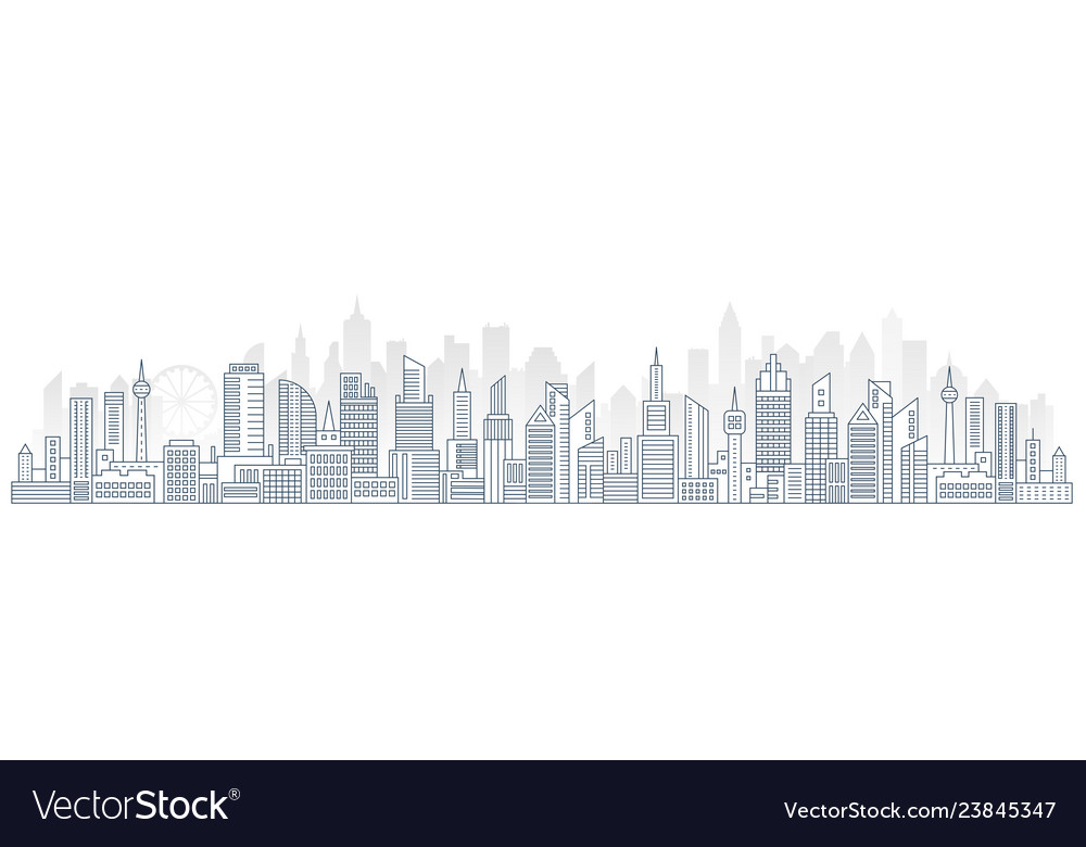 Flat line urban cityscape panorama real estate