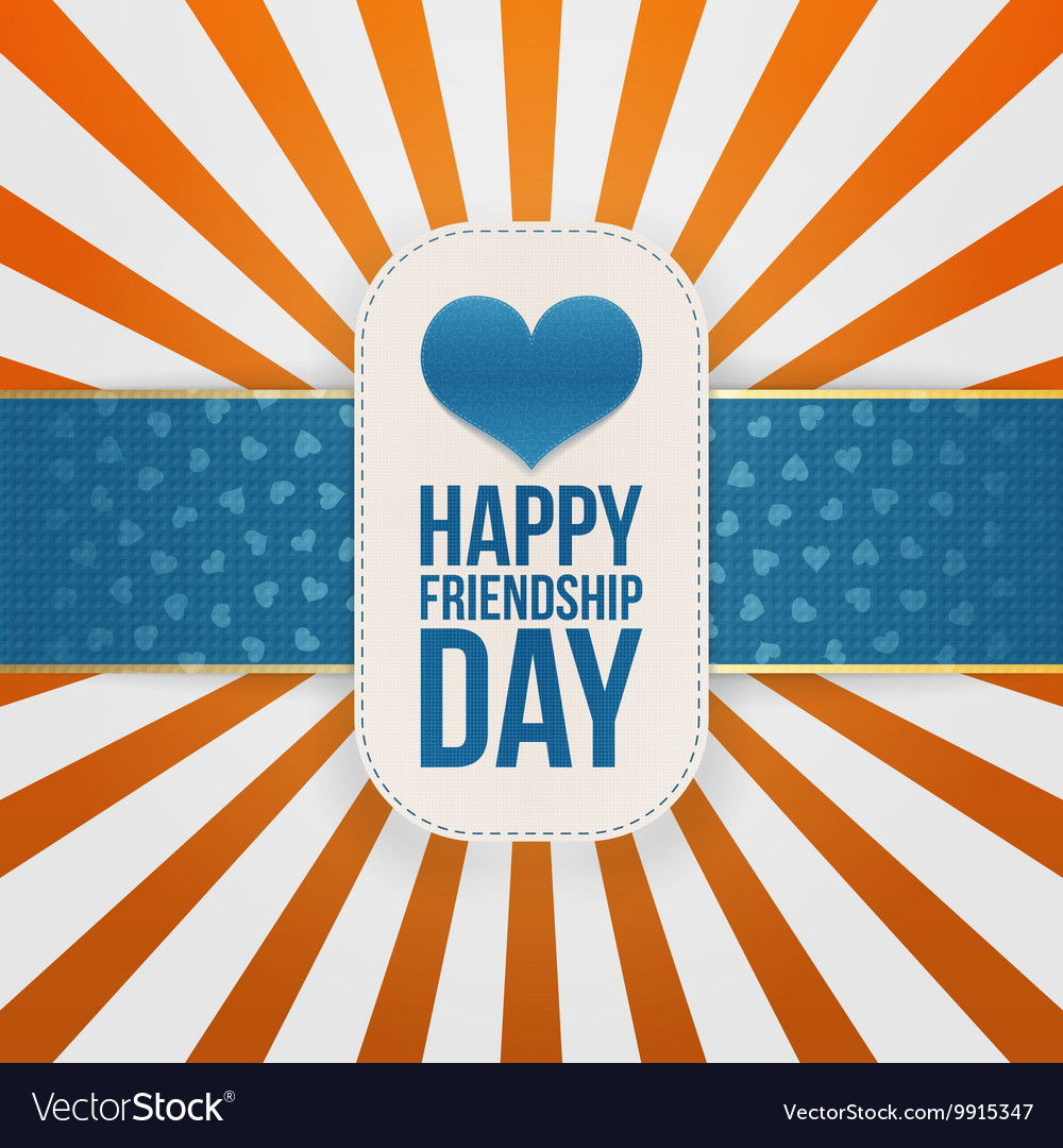 Friendship Day greeting Emblem with blue Ribbon vector image