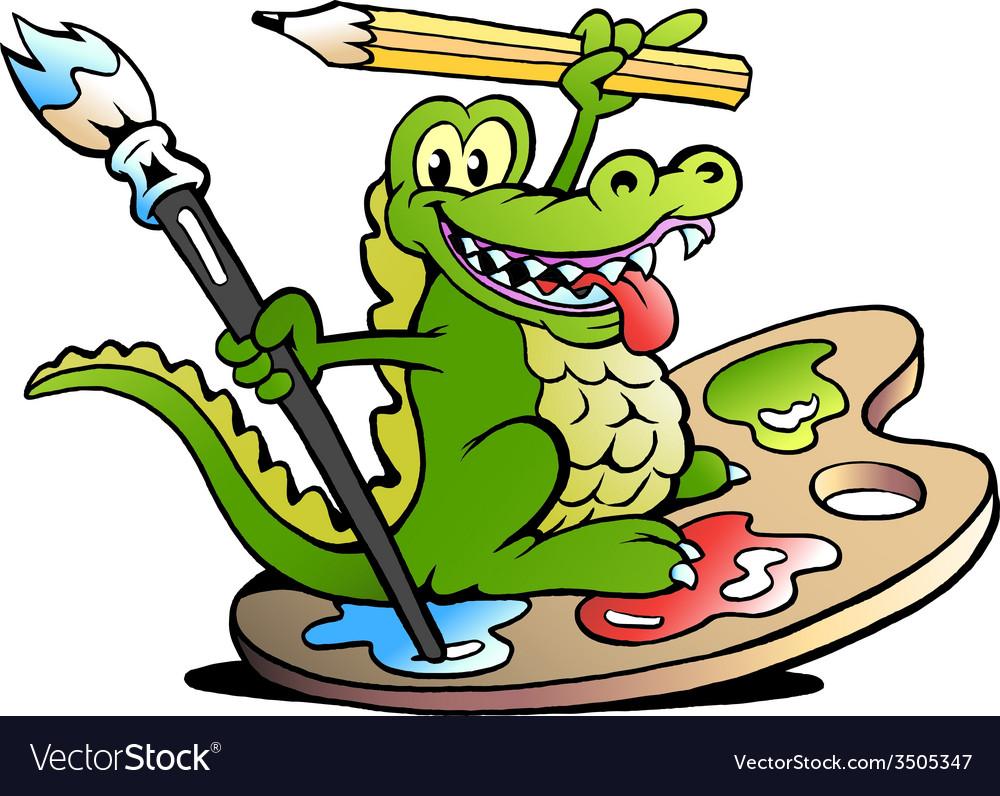 Hand-drawn of an Happy Creative Artist Crocodile