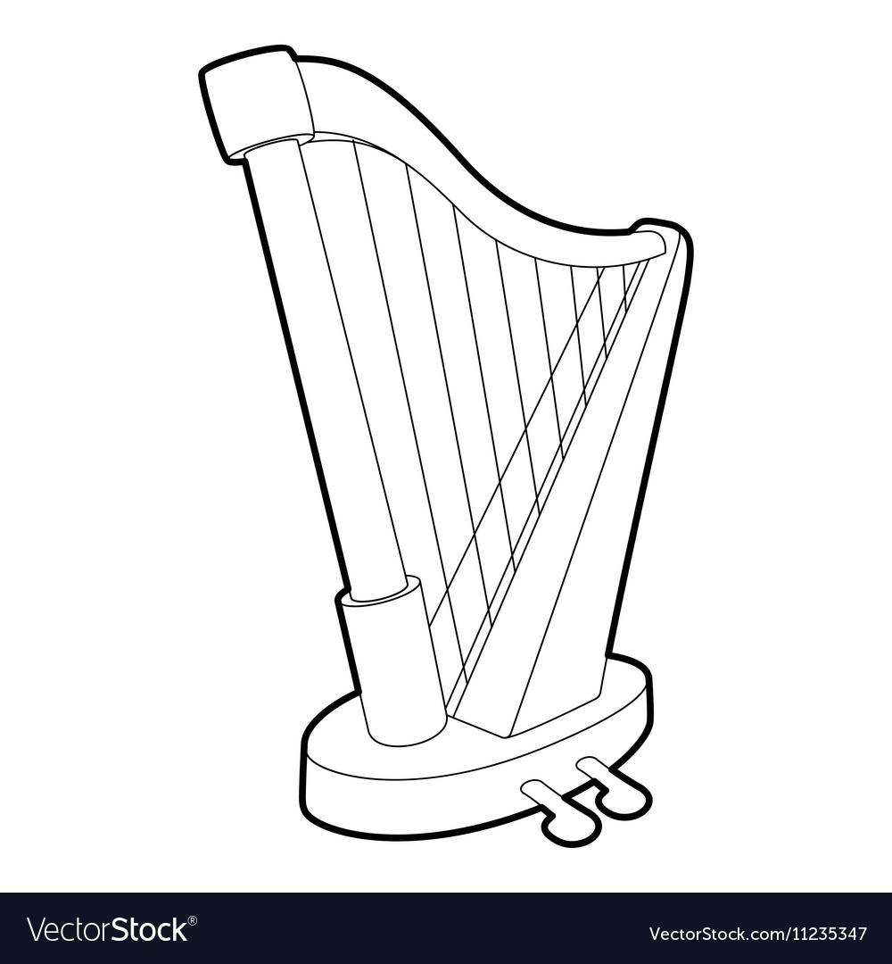 Harp icon outline isometric style