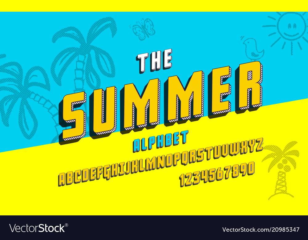 Latin alphabet summer font in cute 3d style
