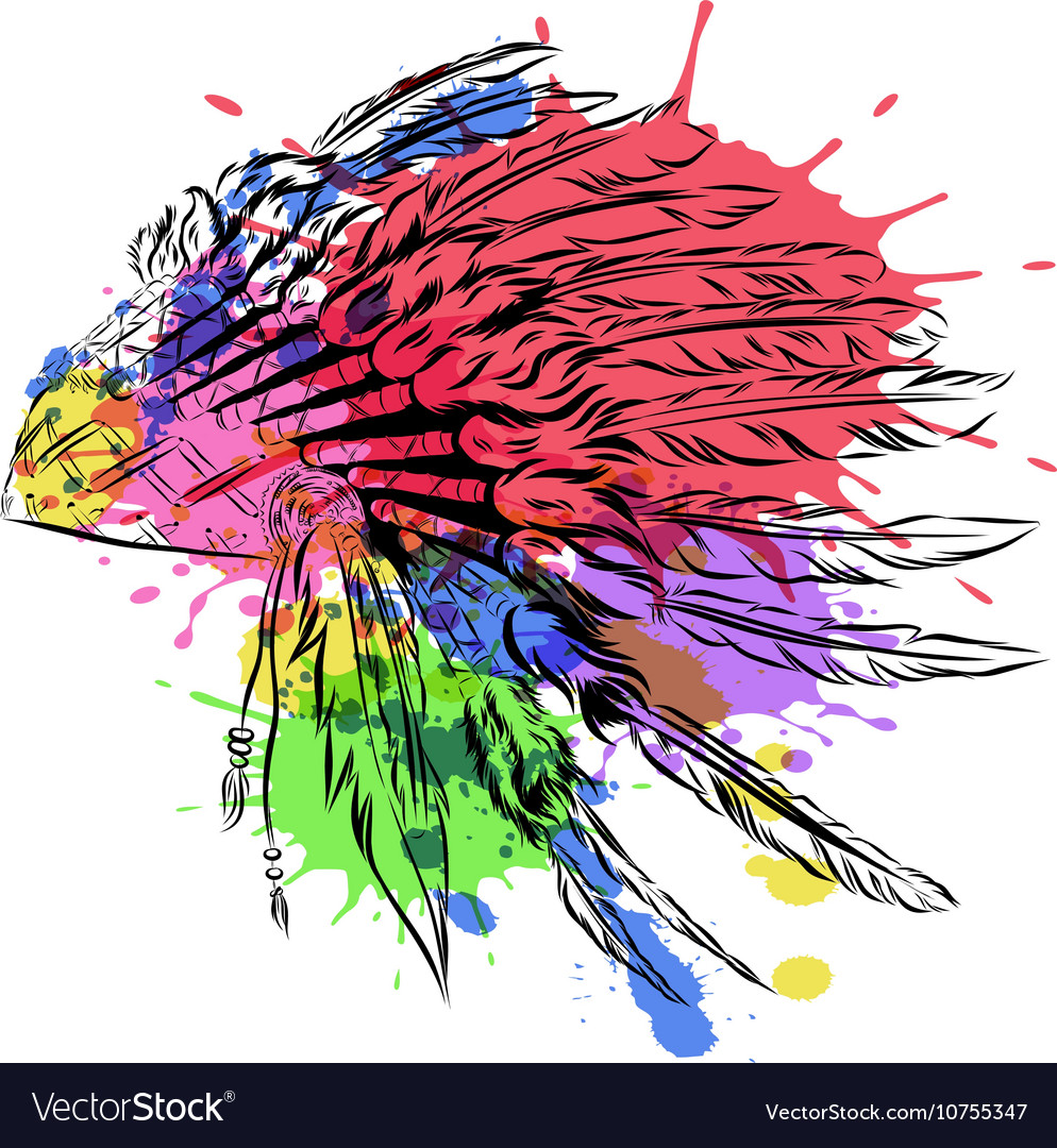 fae579f2d10 Native American indian headdress with feathers in Vector Image