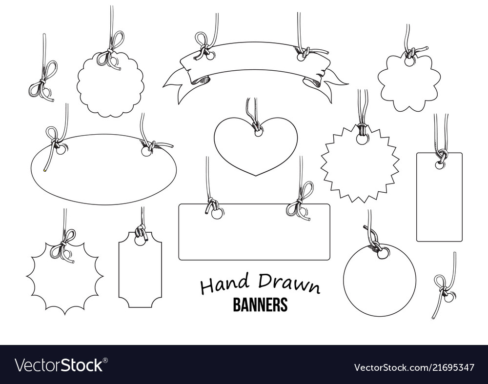 Set of hand drawn labels and banners hand drwn