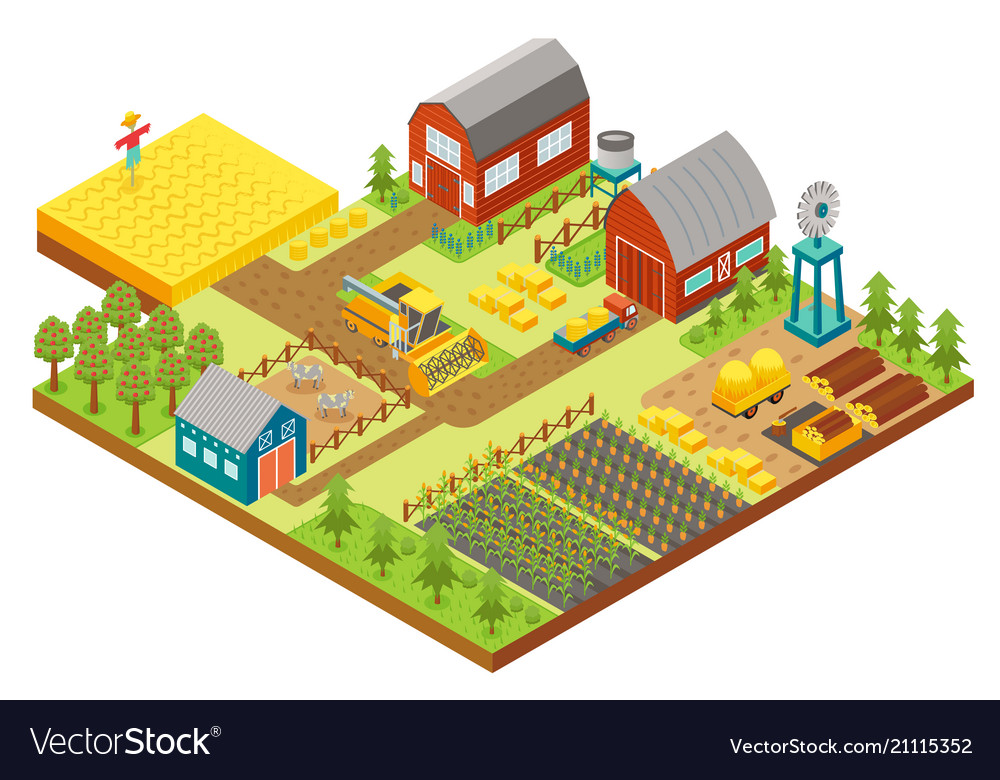 3d isometric rural farm with mill garden