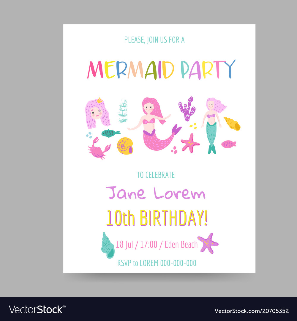 Childish birthday invitation template with mermaid