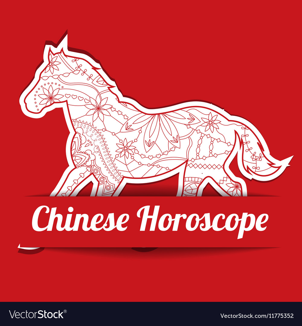 Chinese horoscope background with paper horse