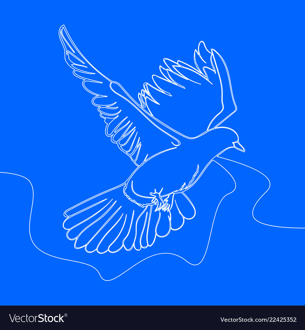 Continuous one line drawing bird flying