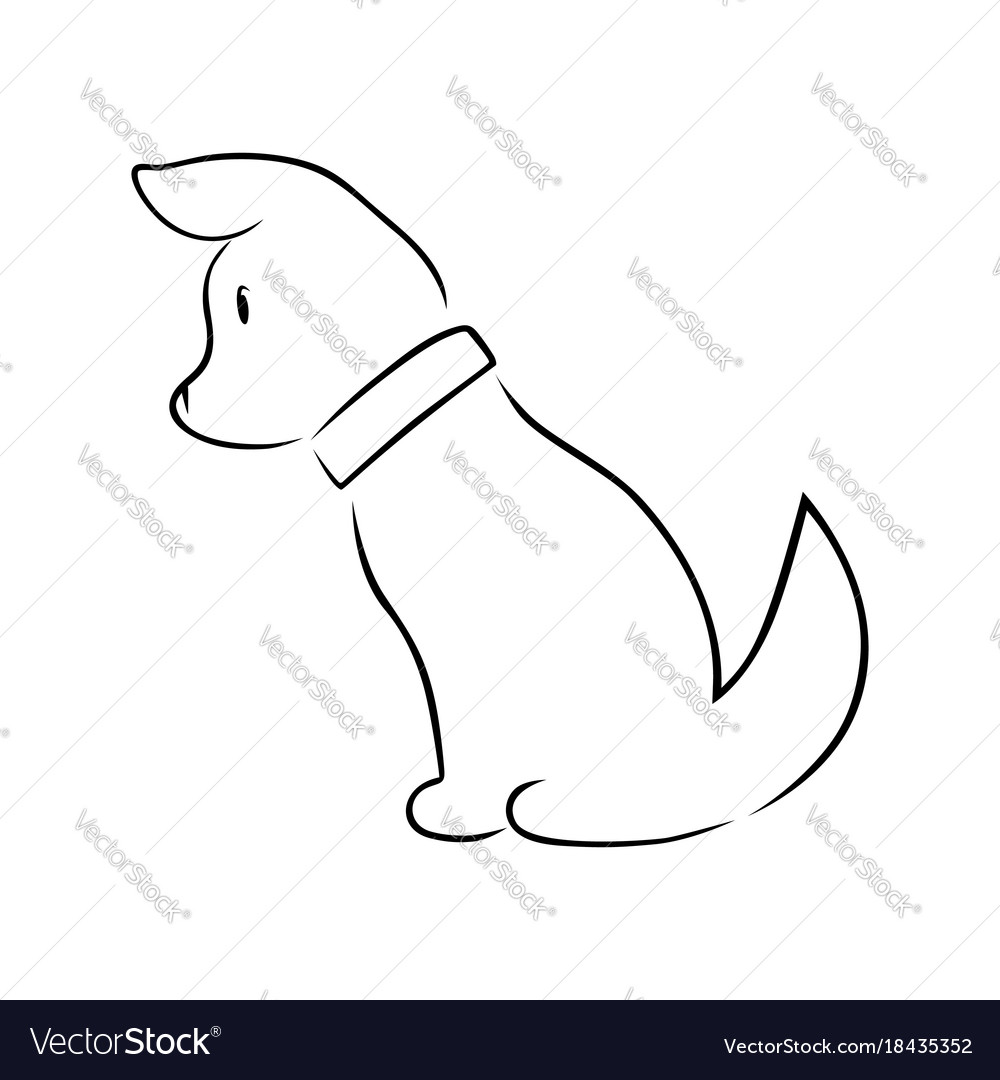 Cute Puppy Silhouette On White Royalty Free Vector Image