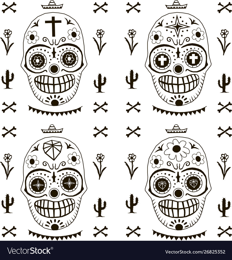 Death day pattern mexico style seamless