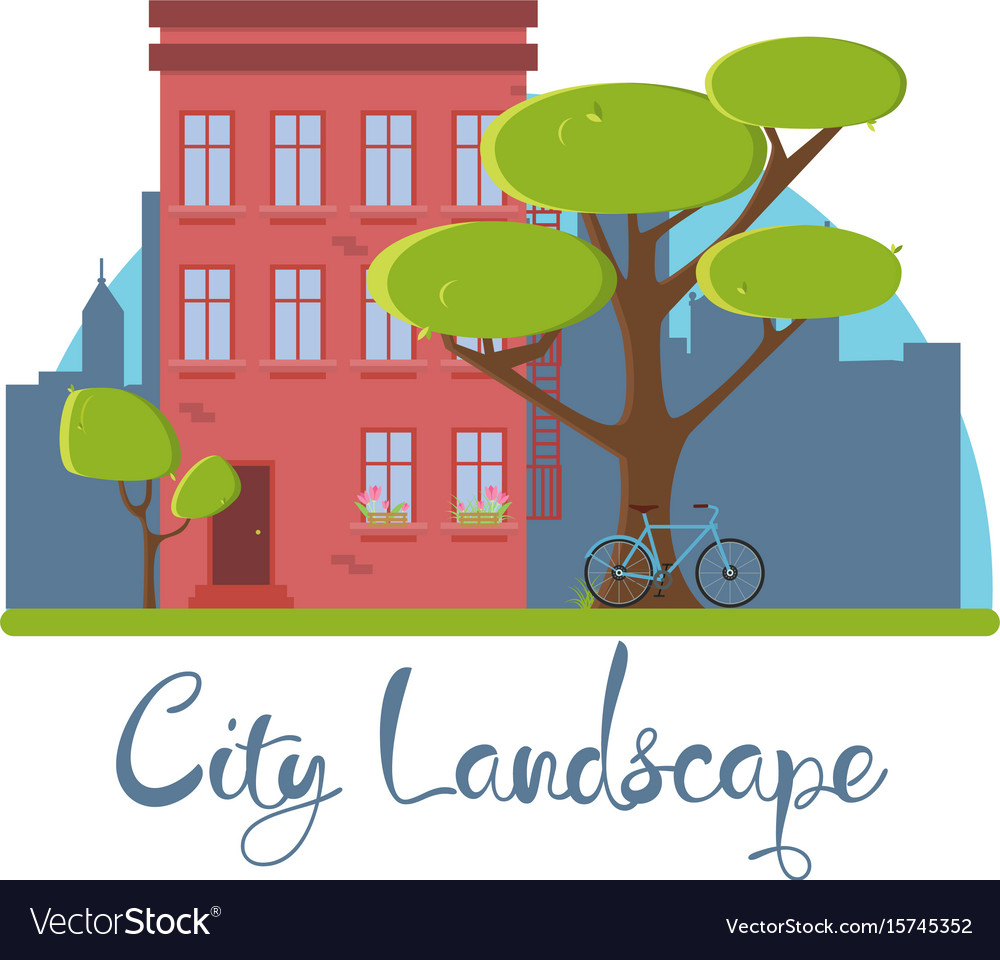 Flat city landscape building house red america vector image