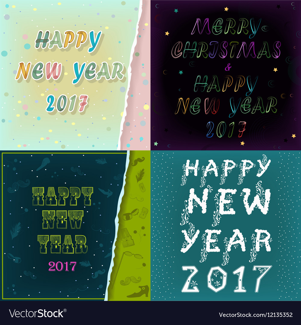 Greeting Cards With Texts Happy New Year 2017 Vector Image