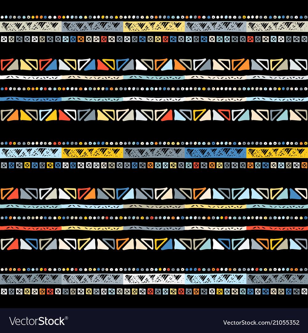 Handmade colored stripes bright tribal seamless