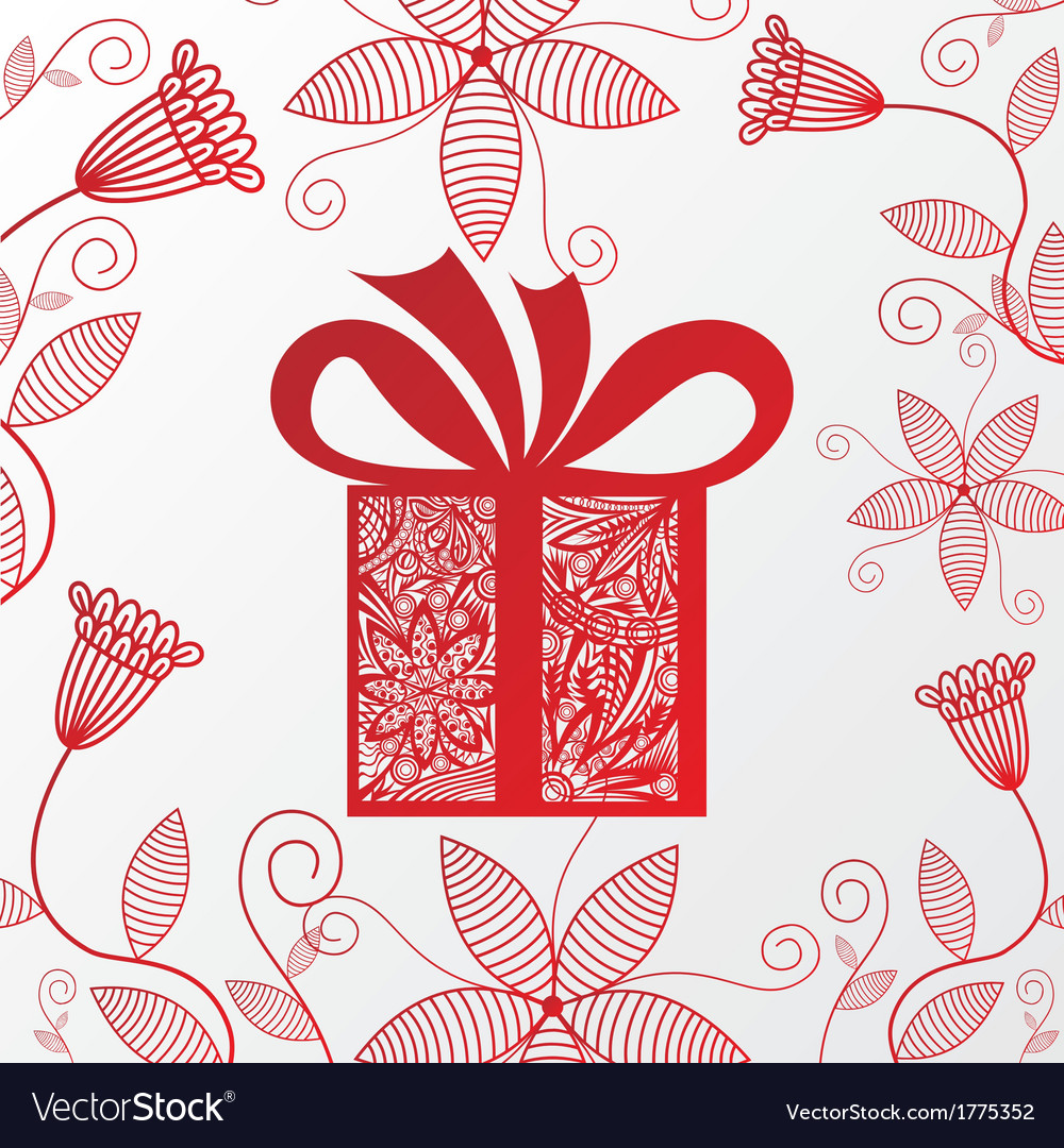 happy birthday greeting card gift flowers vector image - Happy Birthday Cards Flowers