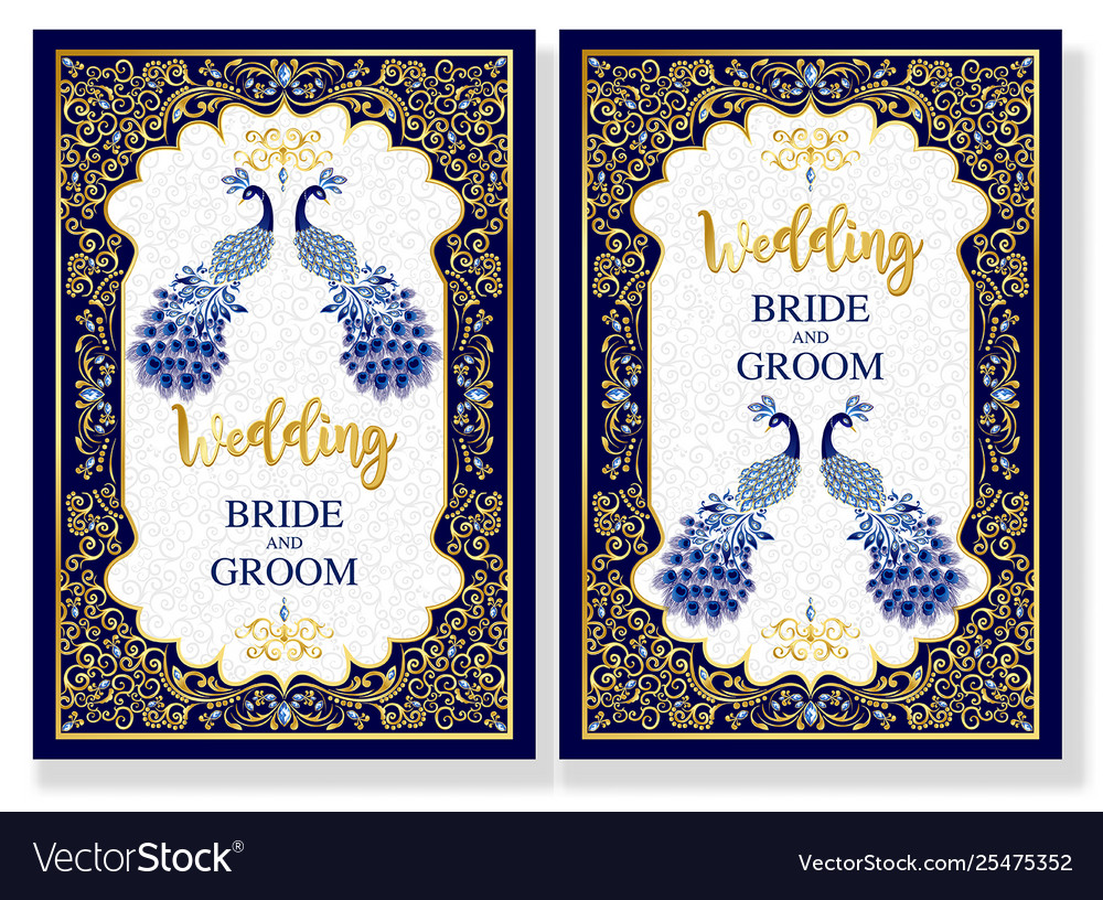 Indian Wedding Invitation Card With Blue