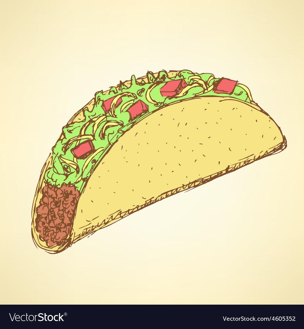 Sketch mexican taco in vintage style