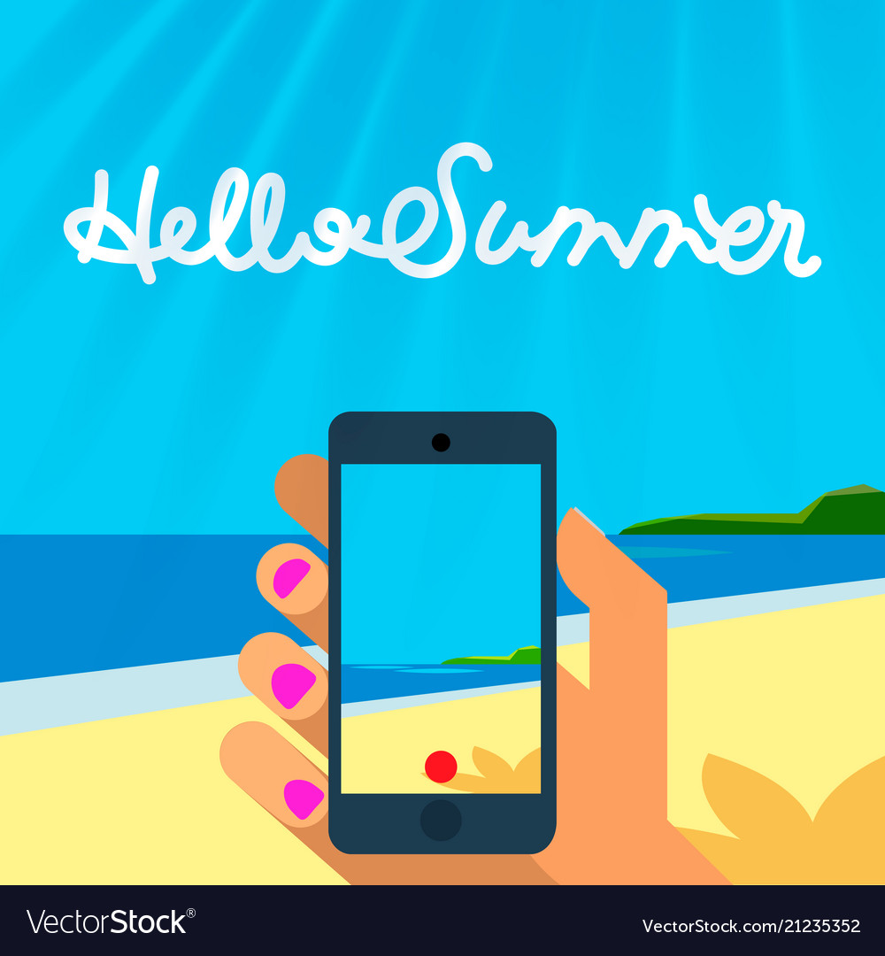 Summer vacation template smart phone hands hold