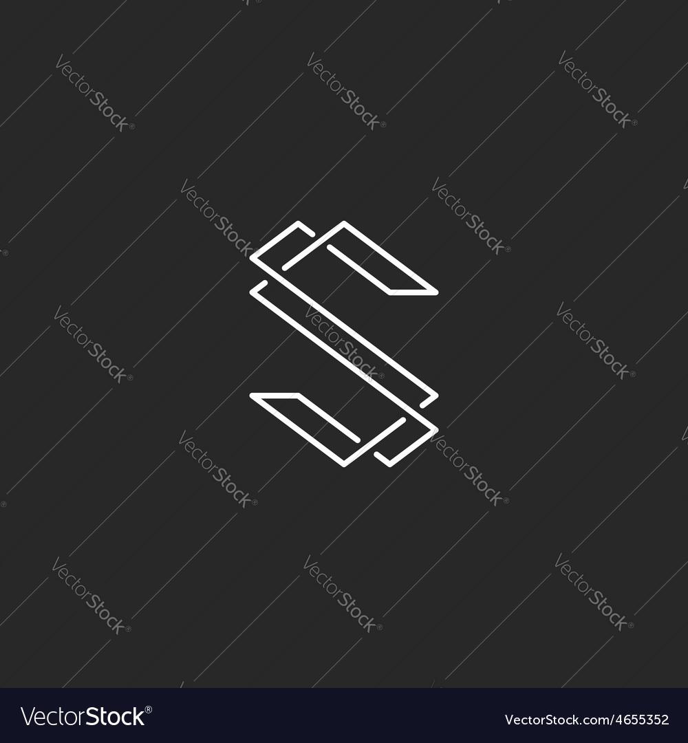 Thin line S letter logo elegant monogram for