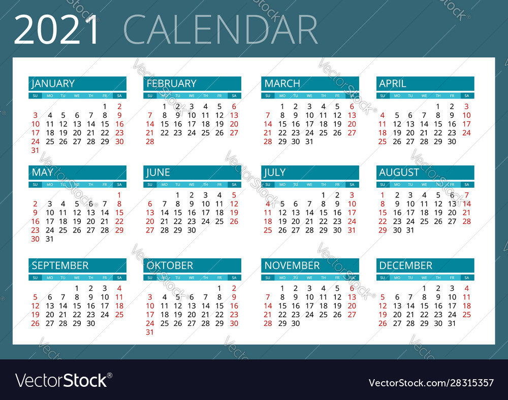 Calendar 2021 To Print 2021 calendar print template with place for photo Vector Image