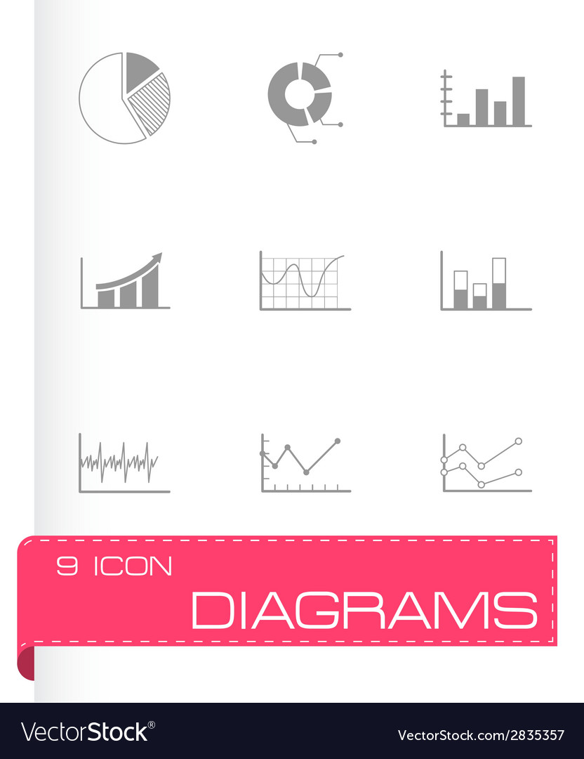 Black diagrams icons set