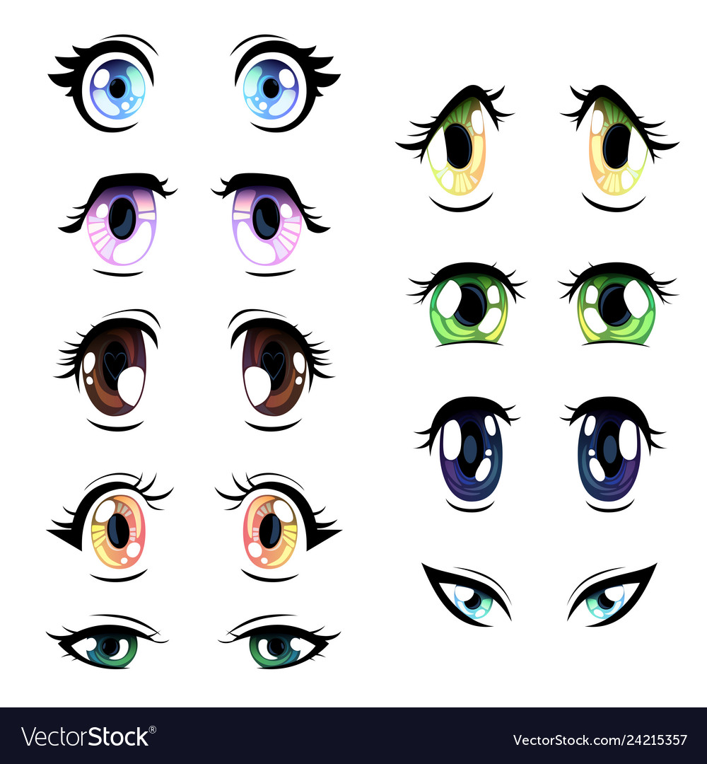 Collection of bright eyes of different colors