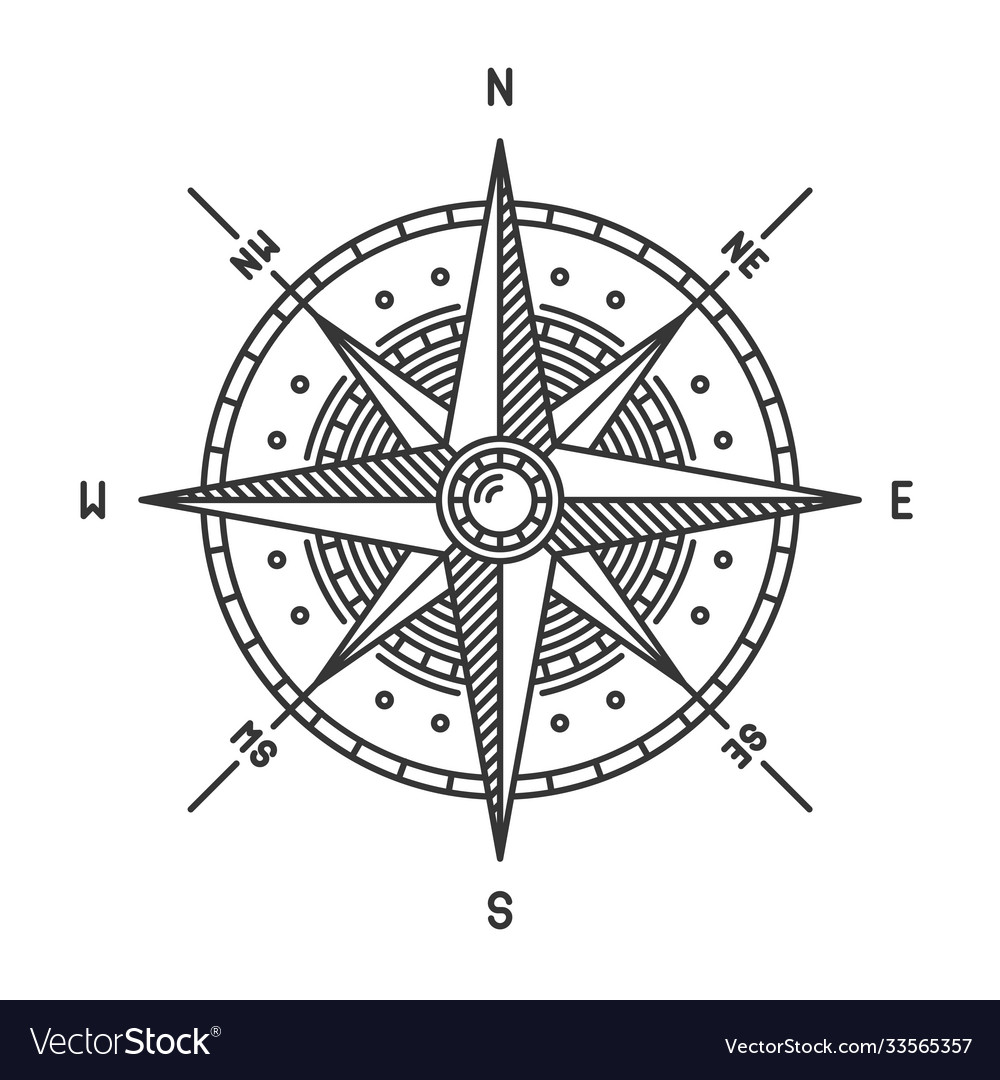 Compass wind rose icon sign on white background