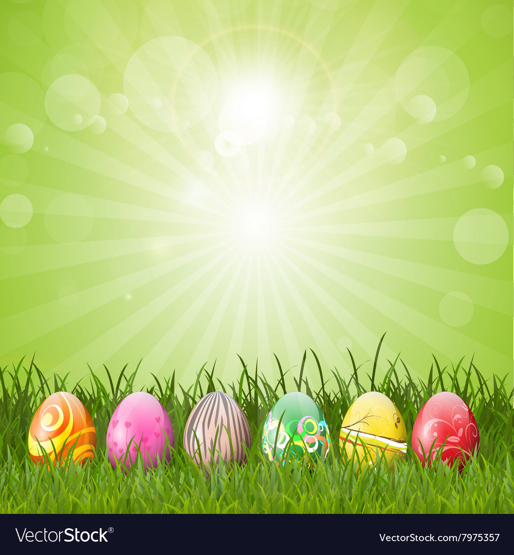 Easter eggs in grass 2402