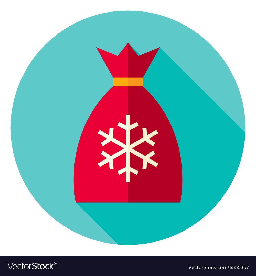 Flat Design Christmas Santa Bag Circle Icon