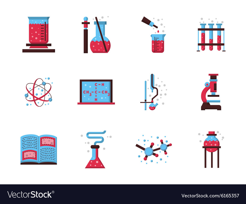 Flat style chemistry colored icons
