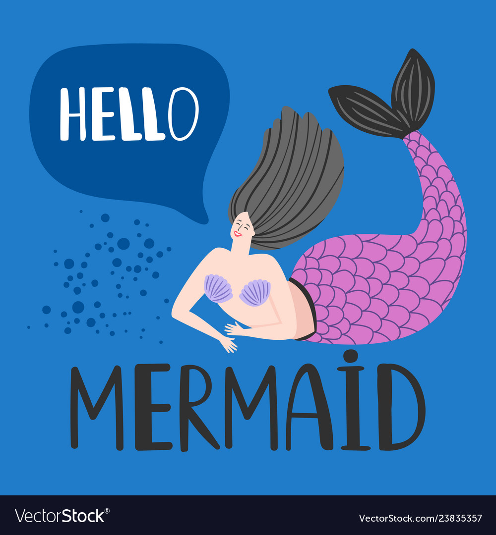 Hello card with happy mermaid template
