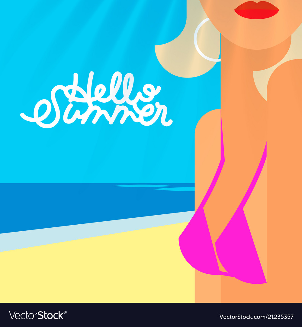 Hello summer poster portrait of sexy hot girl