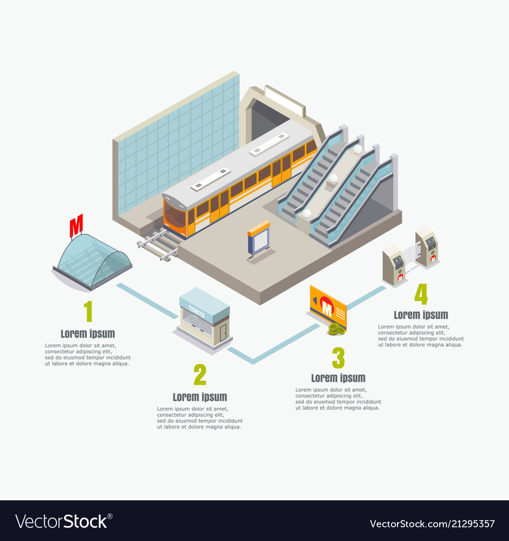 Isometric metro subway infographics