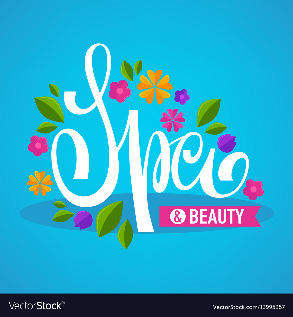 Leaves and flower spa lettering composition for
