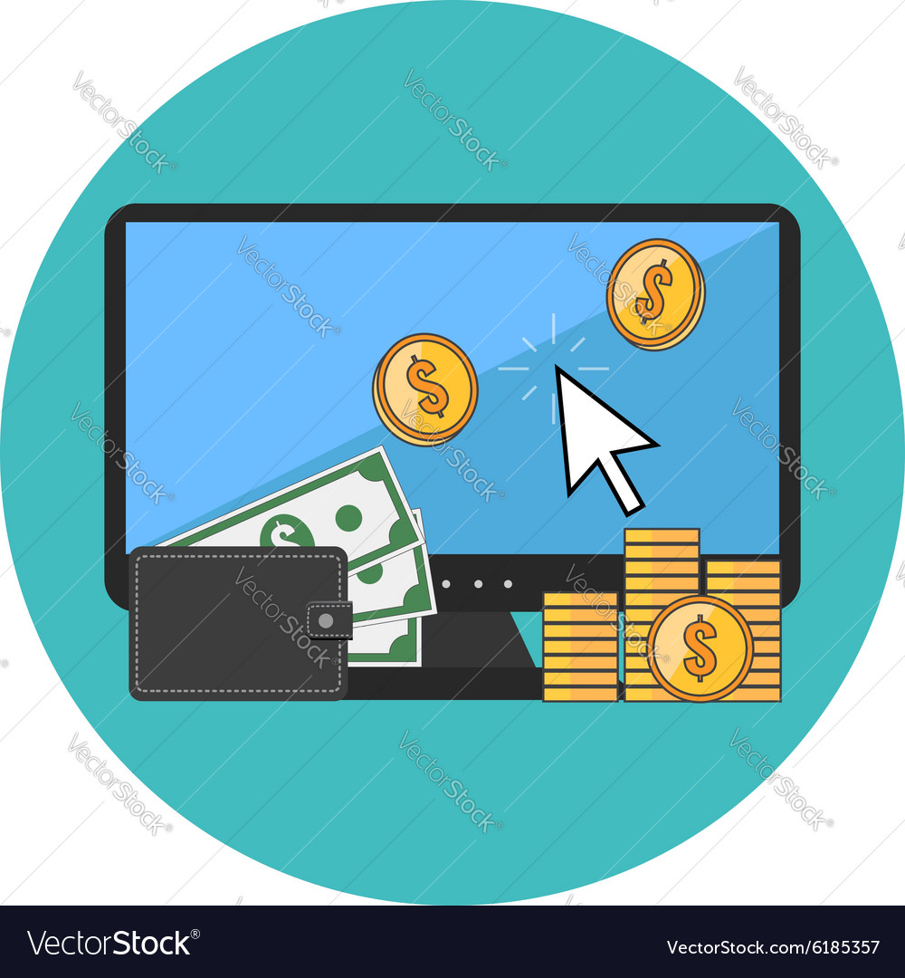 Making money online concept Flat design Icon in