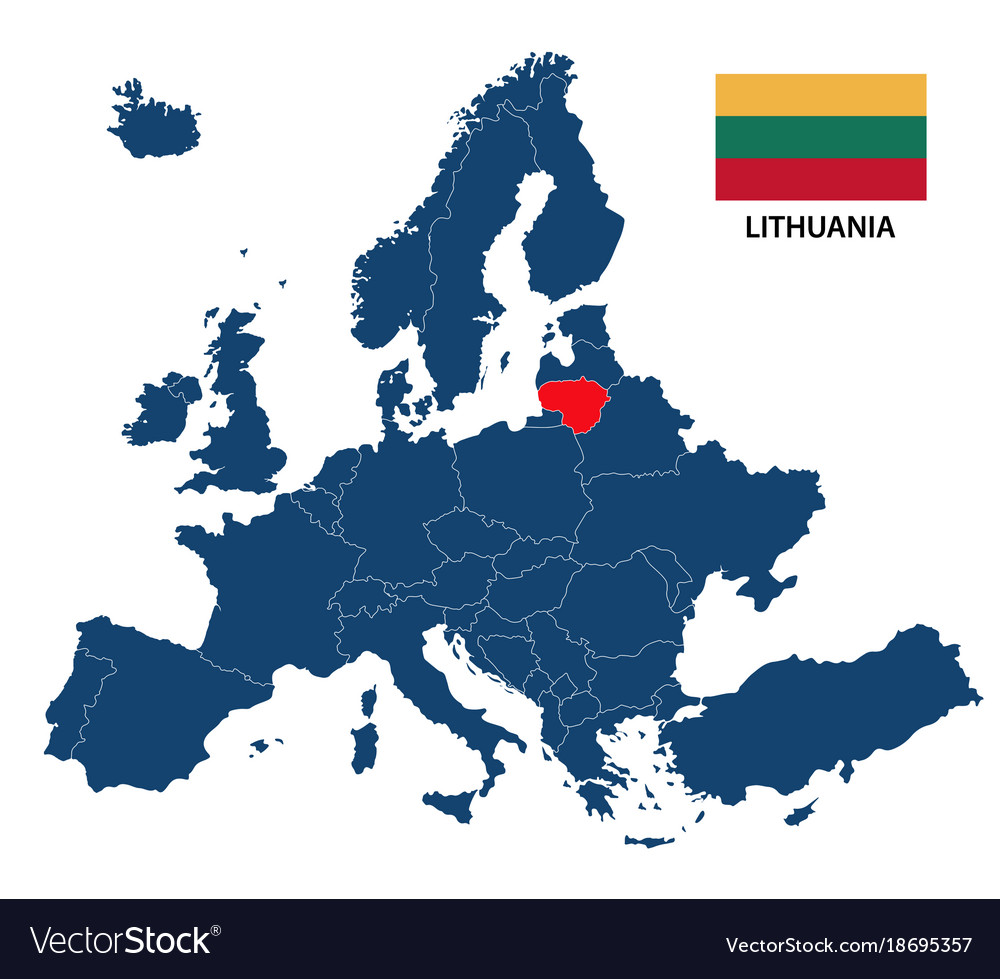 lithuania map in europe Map europe with highlighted lithuania Royalty Free Vector