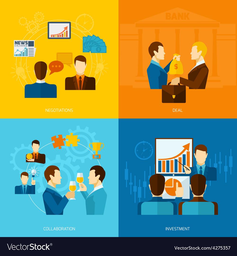 Partnership Flat Set vector image