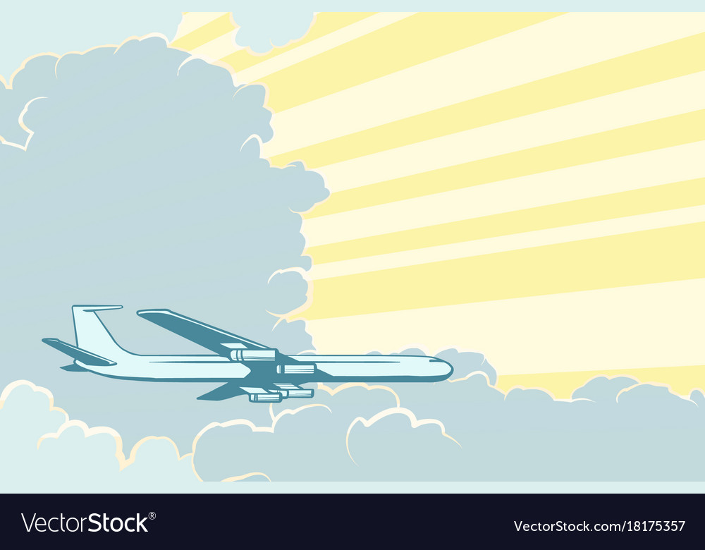 Retro airplane flying in the clouds air travel