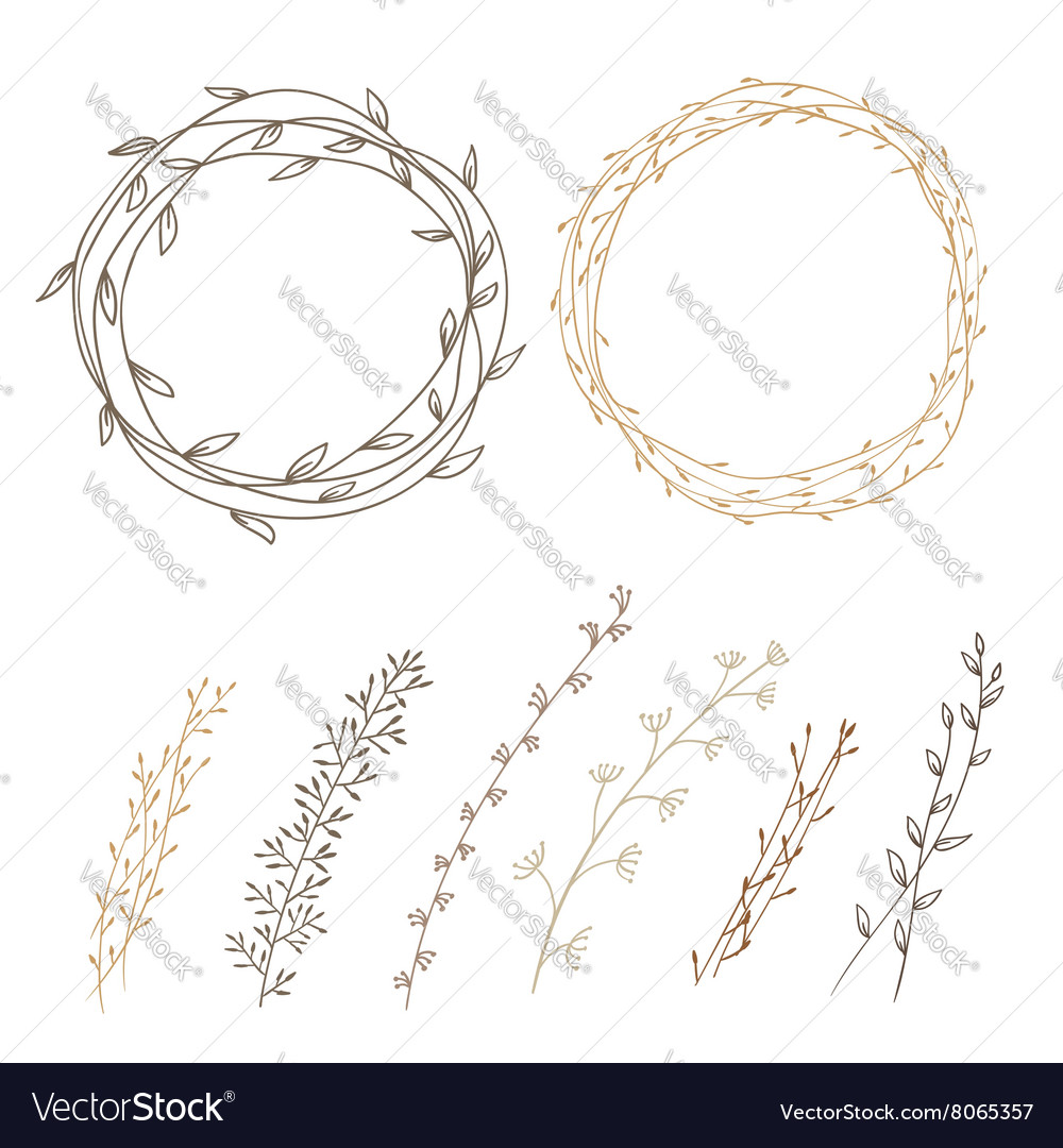 Set of decorative doodle wreaths