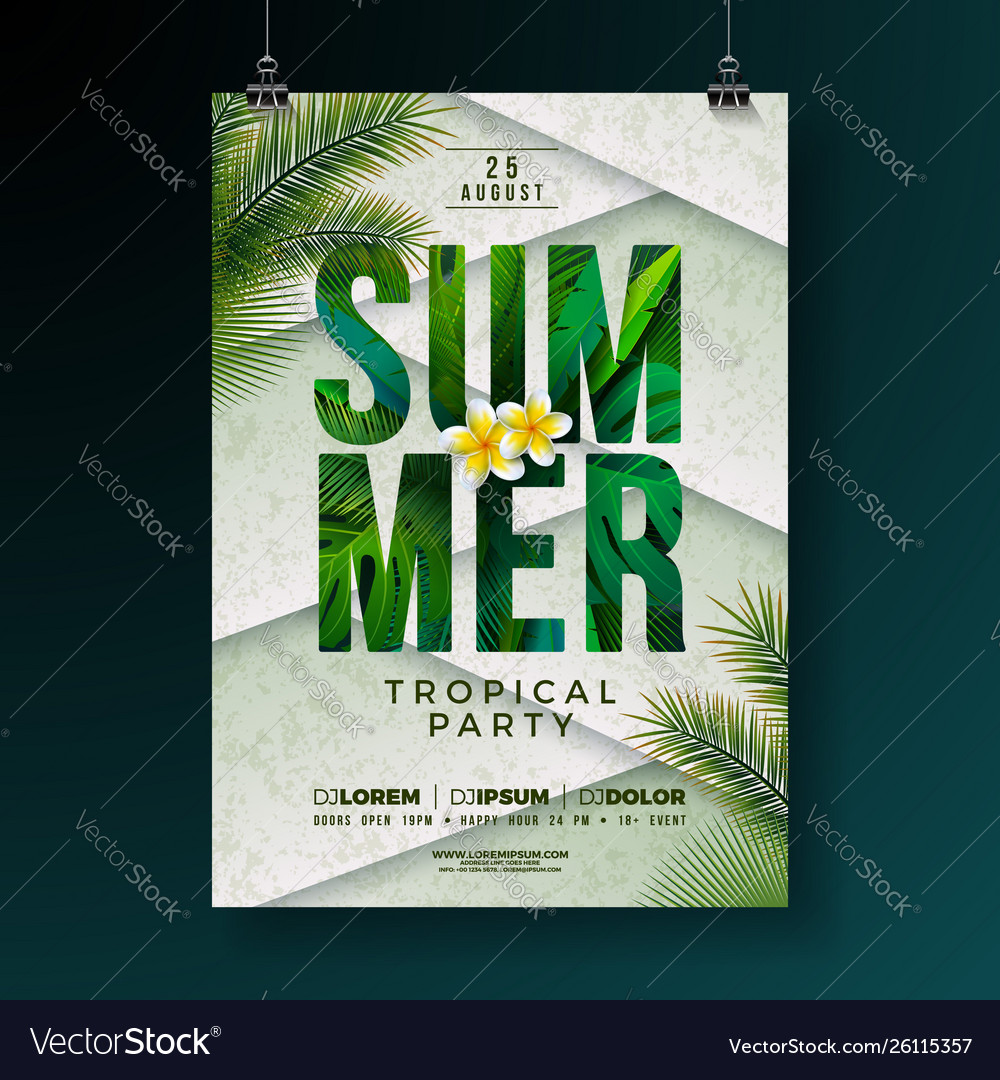 Summer party flyer design with flower
