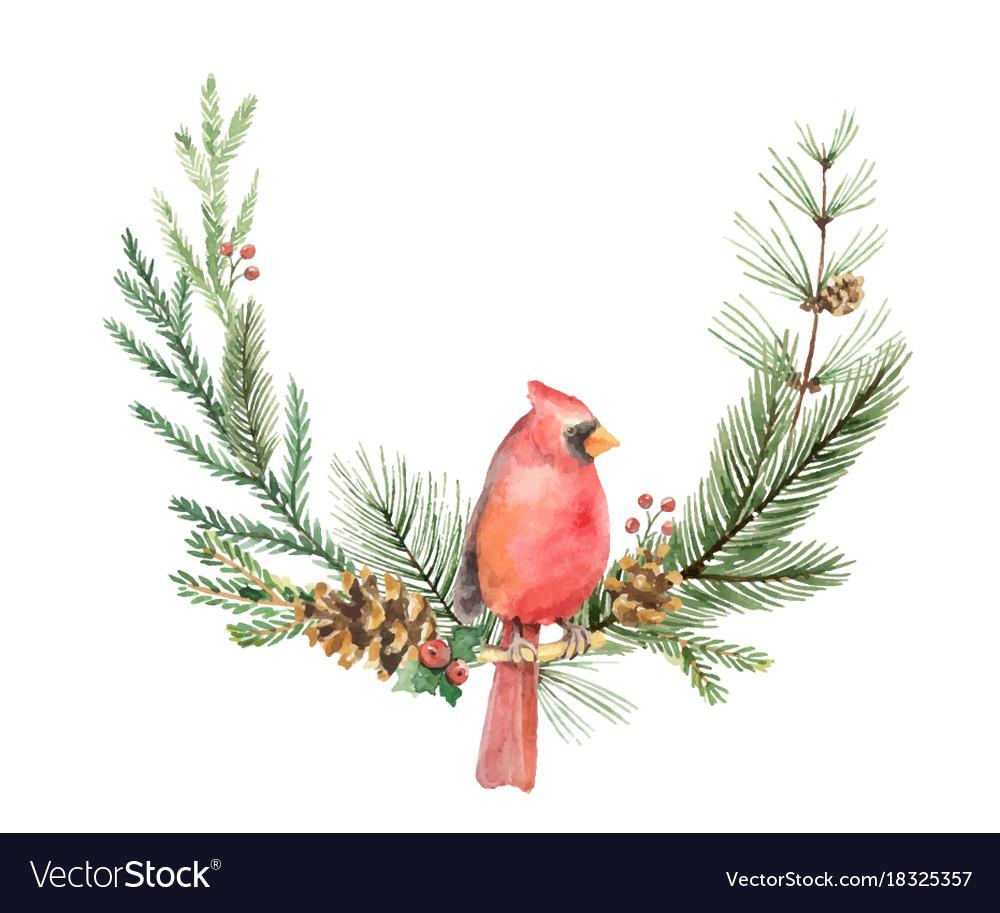 Watercolor christmas wreath with bird
