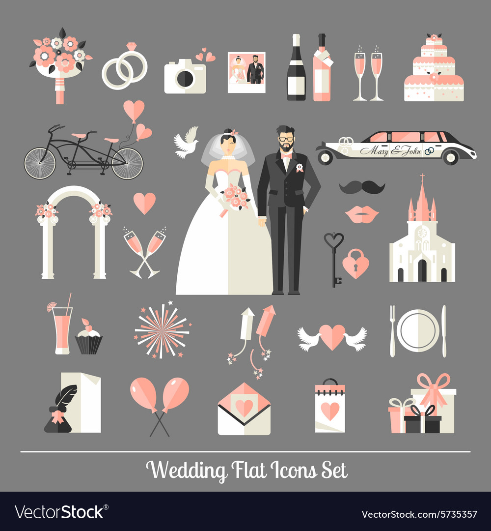 Wedding symbols set vector image