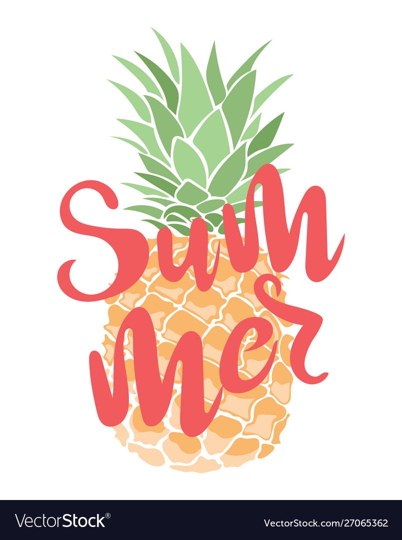 A cartoon pineapple with an inscription summer