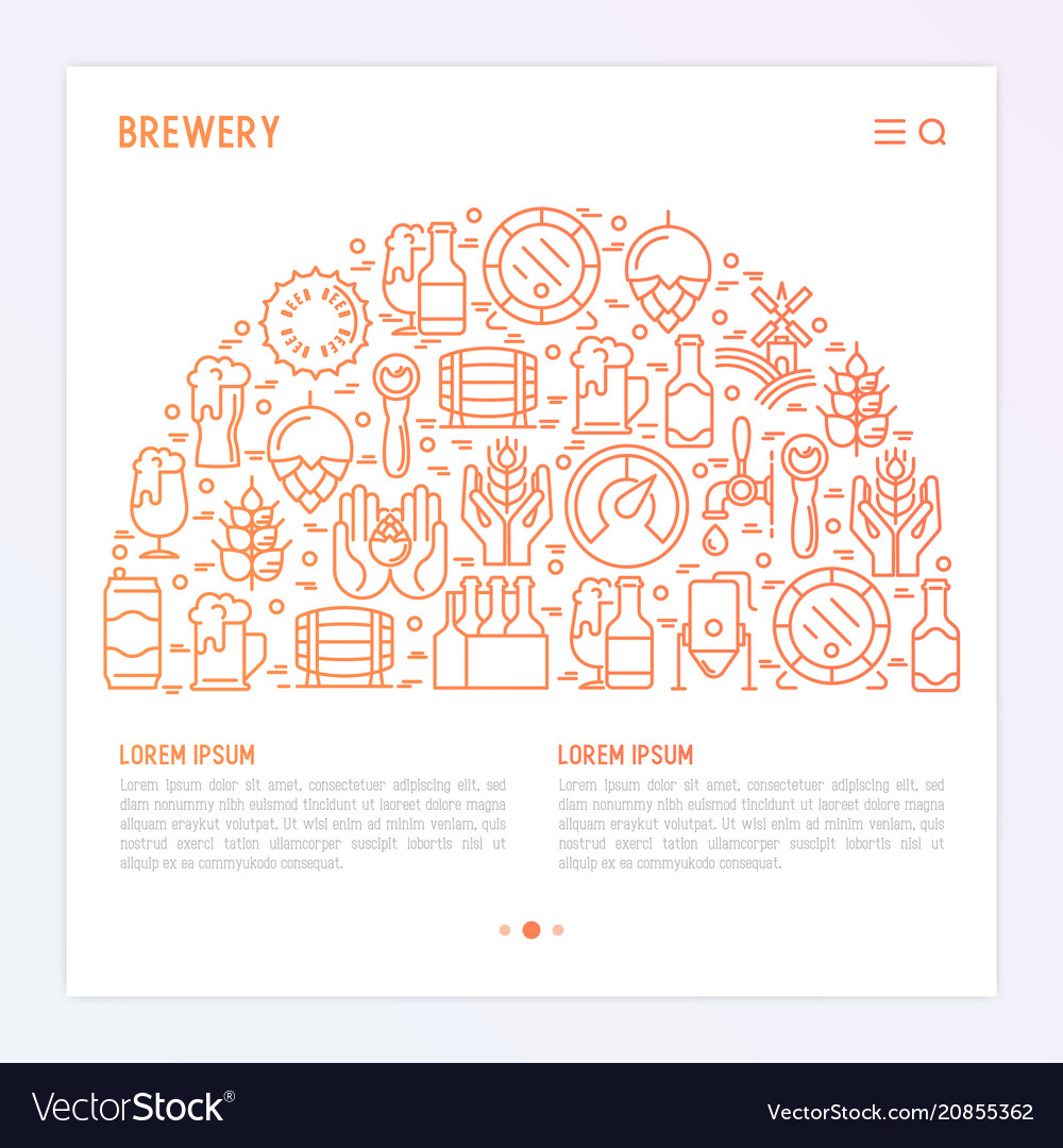 Beer concept in half circle with thin line icons