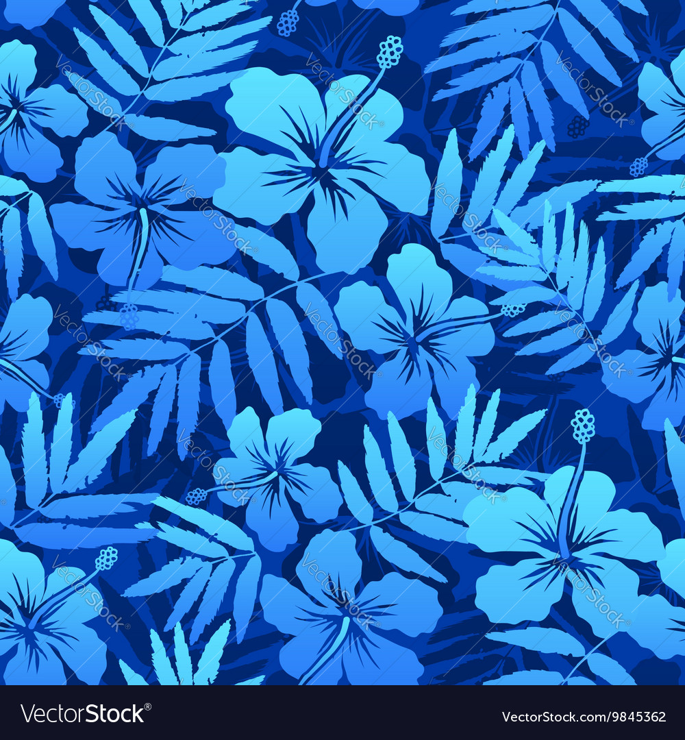 Blue Tropical Flowers Seamless Pattern Royalty Free Vector