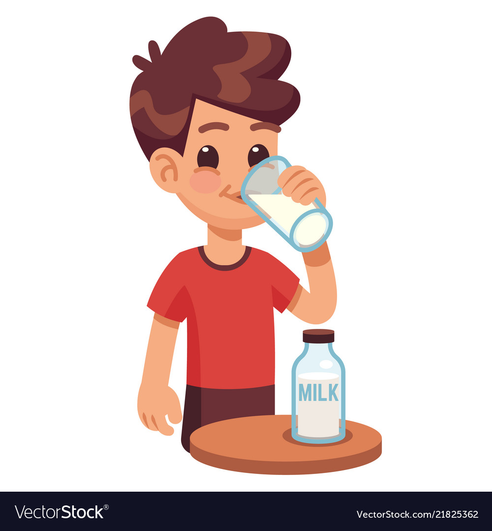 Boy drinks milk kid holding and drinking milk in