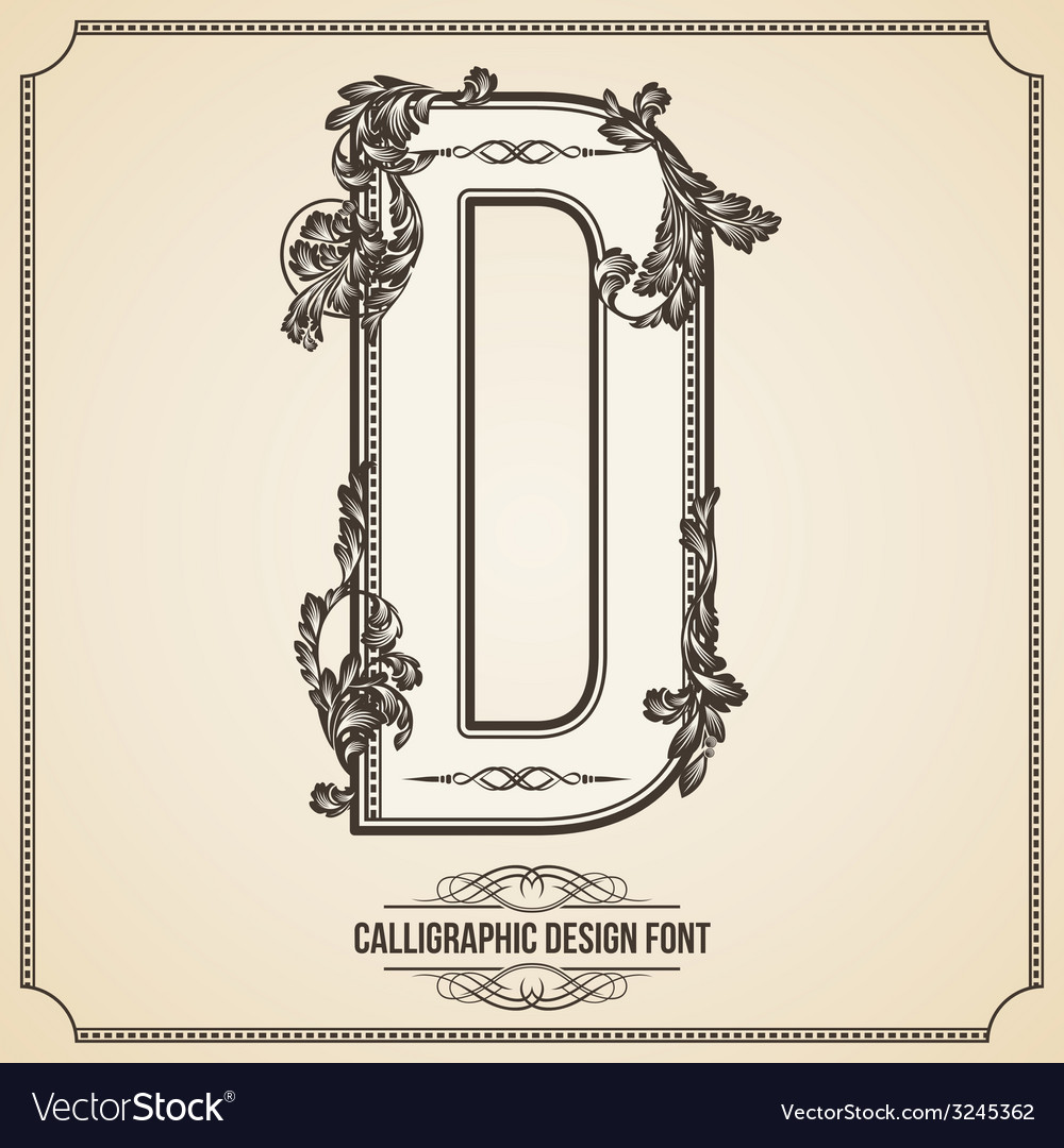 Calligraphic font Letter D
