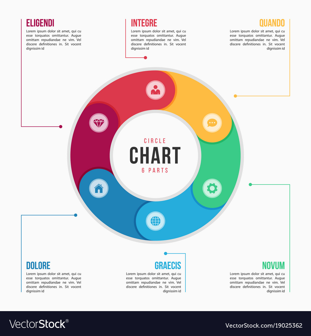 Circle chart infographic template with 6 parts