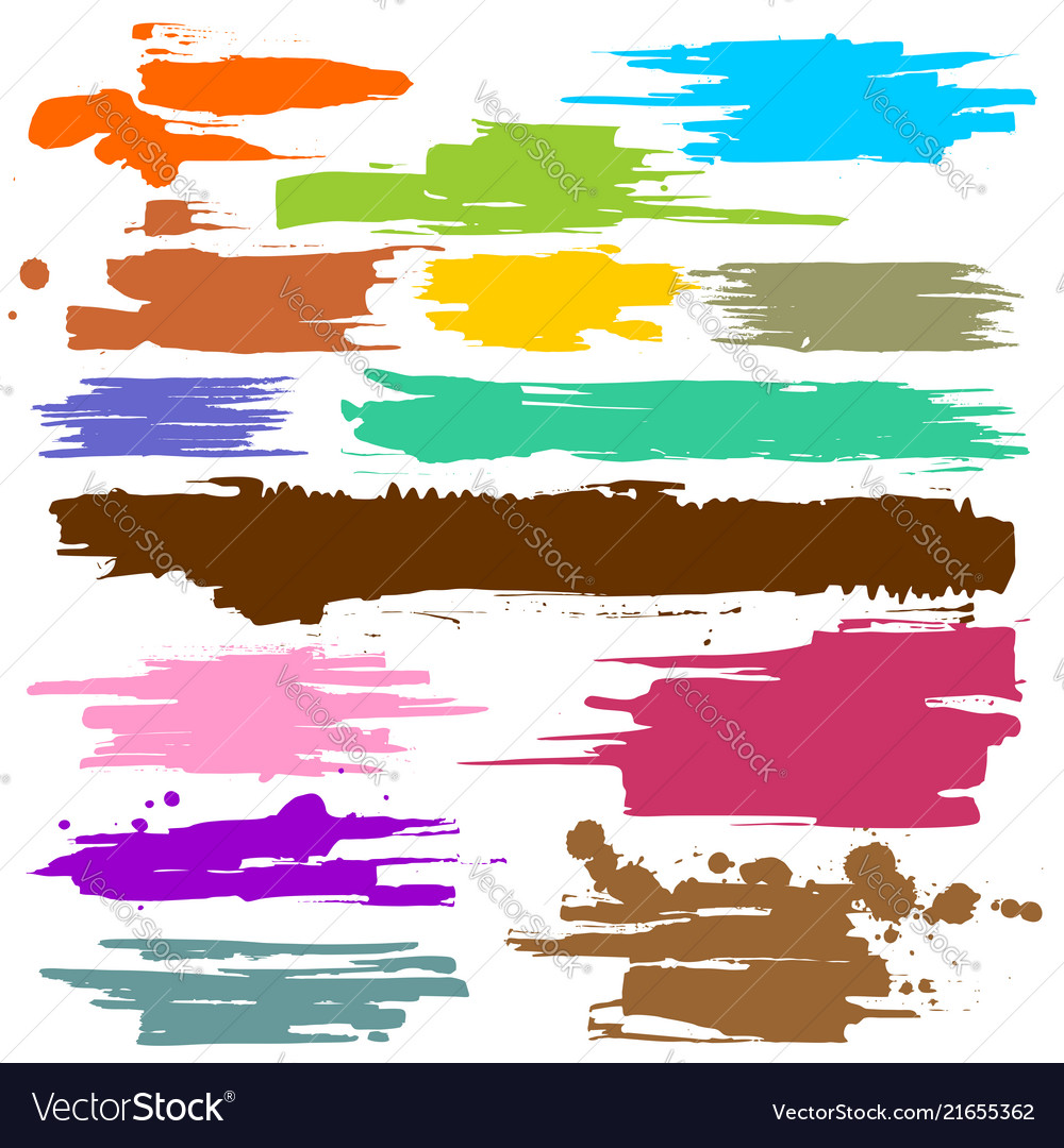 Collection of smears with black paint strokes