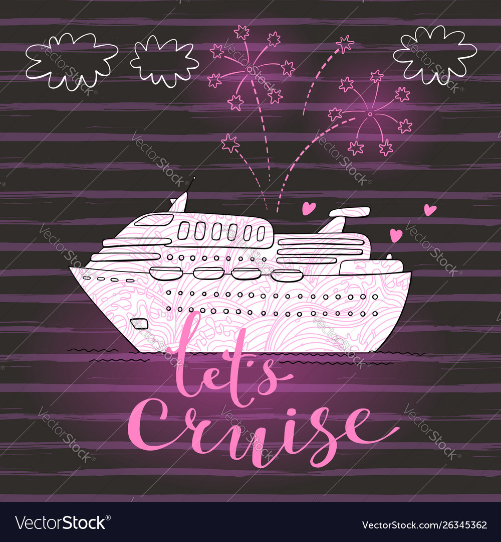 Cute card with a cruise ship and fireworks